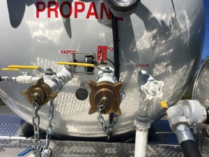 close up of propane valves